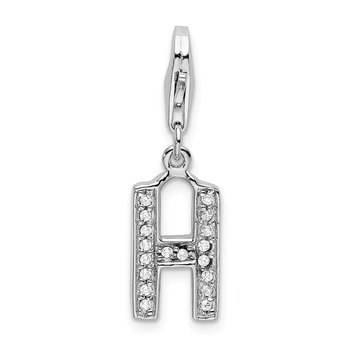 Sterling Silver CZ Letter H w/Lobster Clasp Charm