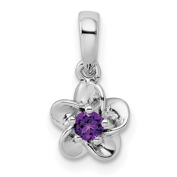 Sterling Silver Rhodium-plated Floral Amethyst Pendant