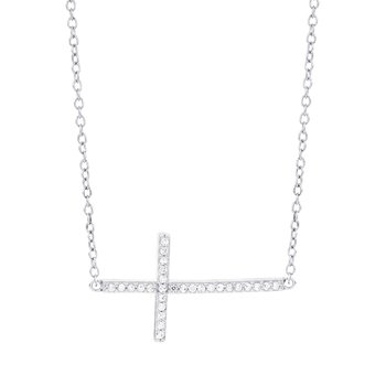 14k White Gold 1/7ct Diamond Sideways Cross Necklace