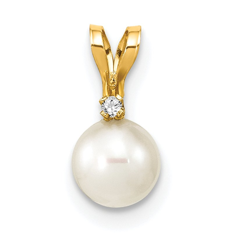 Quality Gold 14k 5-6mm Round White Freshwater Cultured Pearl Diamond Pendant