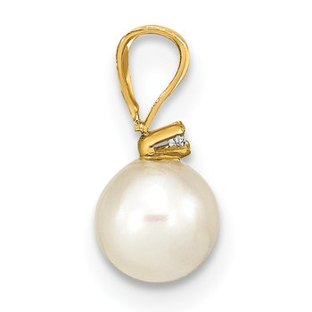 14k 5-6mm Round White Freshwater Cultured Pearl Diamond Pendant