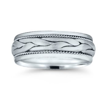 Mens Hand Braided Wedding Band
