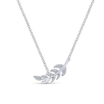 14K White Gold Diamond Leaf Pendant Necklace