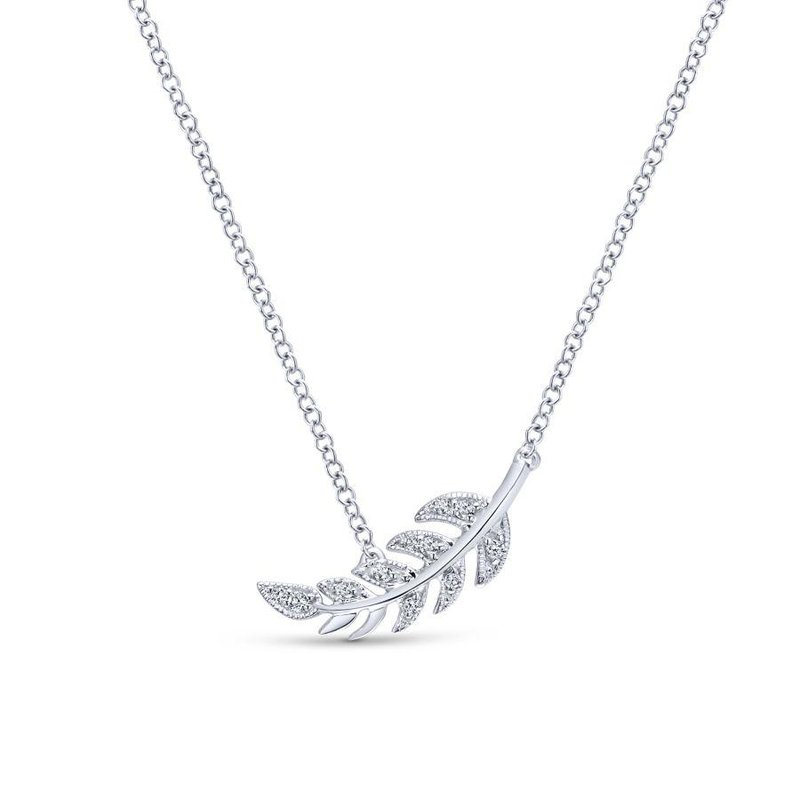 Gabriel Fashion 14K White Gold Diamond Leaf Pendant Necklace