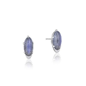 Oval-Shaped Gem Earrings with Labradorite