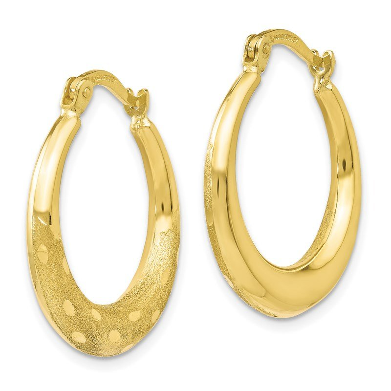 Leslie's Leslie's 10k Polished Scratch-finish D/C Hoop Earrings