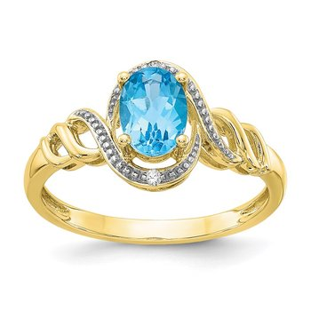 10K Light Swiss Blue Topaz and Diamond Ring