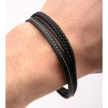 Black Leather in White Tread and Braided Layered Bracelet