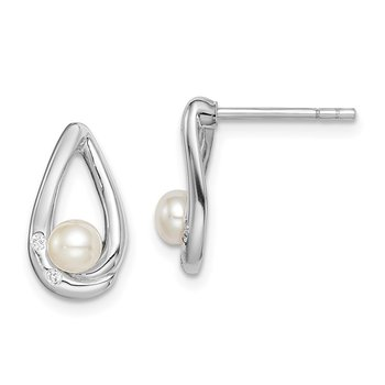 Sterling Silver Rhodium-plated CZ 4-5mm FWC Pearl Teardrop Post Earrings