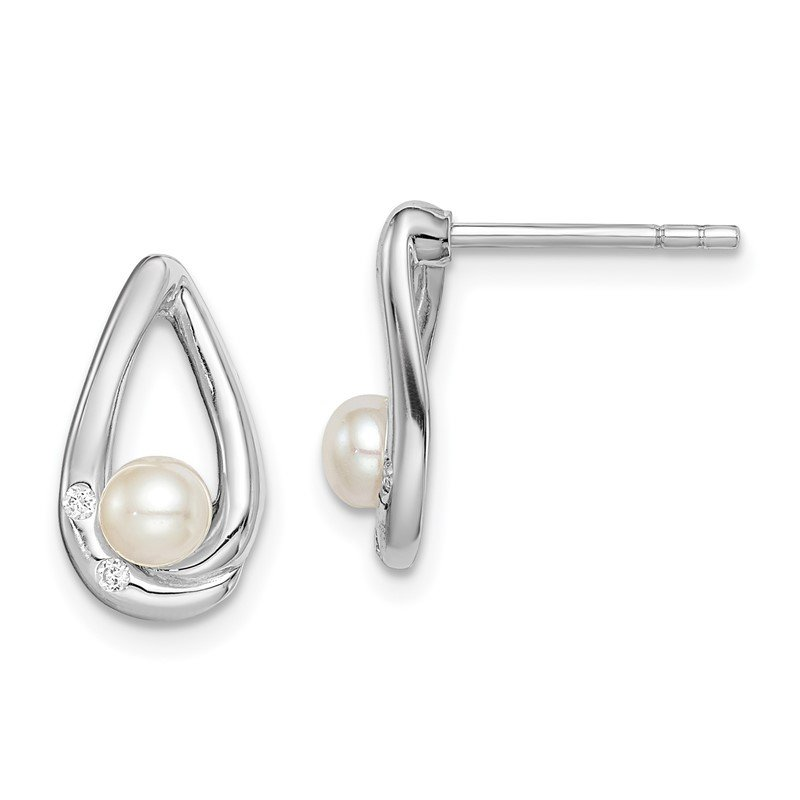 Quality Gold Sterling Silver Rhodium-plated CZ (4-5mm) FWC Pearl Teardrop Post Earrings