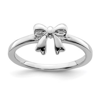 Sterling Silver Rhodium-plated Polished Bow Ring