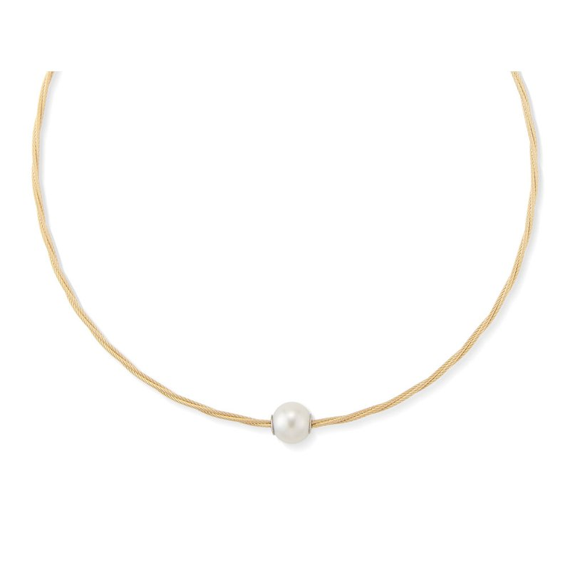 ALOR Yellow Cable Choker Necklace with 18kt White Gold & Pearl