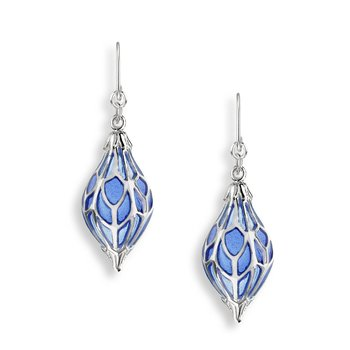 Blue Ornament Wire Earrings.Sterling Silver - Plique-a-Jour