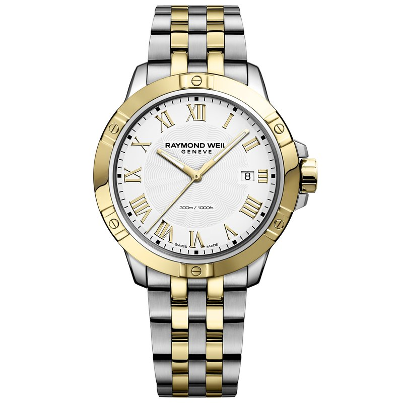 Raymond Weil Men's Quartz Date Watch, 41mm Two-tone, white dial