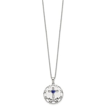 Sterling Silver Enameled Blue & Clear CZ Cross Necklace
