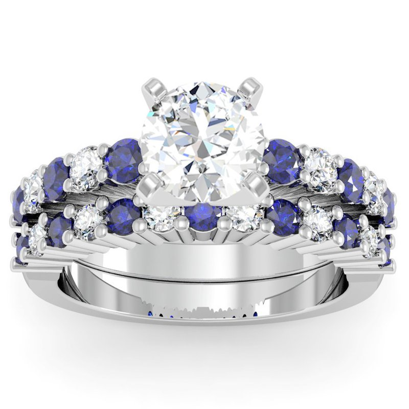 California Coast Designs Round Diamond & Blue Sapphire Band