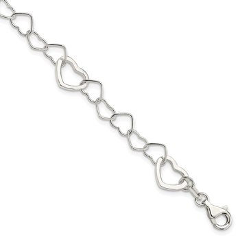 Sterling Silver Polished Fancy Link Heart Bracelet