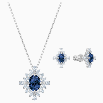 Palace Set, Blue, Rhodium plated