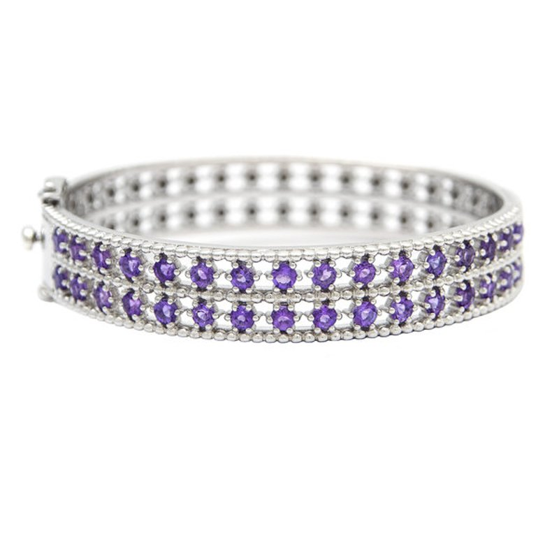 Andrea Candela Sterling Silver and Amethyst Bangle