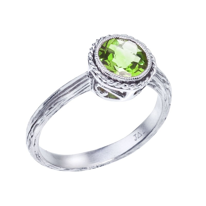 Color Merchants 14k White Gold Peridot Braided Ring
