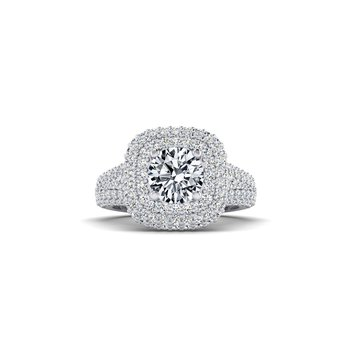 Cushion Shaped Double Halo Design Engagement Ring