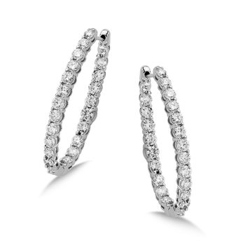 Pave set Diamond Oval Reflection Hoops in 14k White Gold (2 1/3 ct. tw.) JK/I1