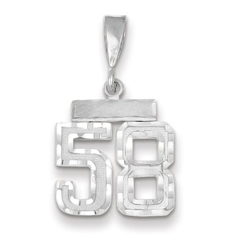 14k White Gold Small Diamond-cut Number 58 Charm