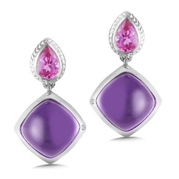 Sterling Silver Amethyst and Pink Sapphire Post Earrings