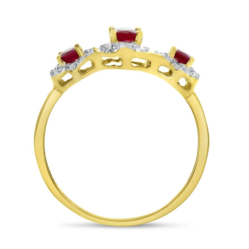 Color Merchants 10k Yellow Gold Oval Garnet And Diamond Three Stone Ring