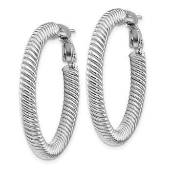 14k 4x25mm White Gold Twisted Round Omega Back Hoop Earrings