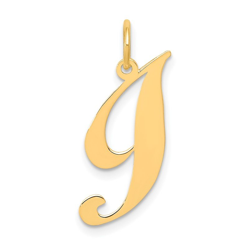 Quality Gold 14K Small Fancy Script Letter I Initial Charm
