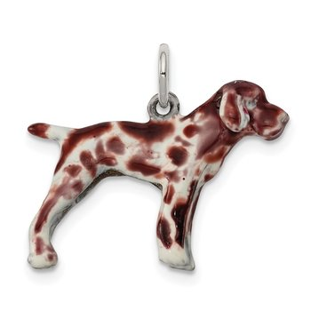 Sterling Silver Enameled German Shorthaired Pointer Charm