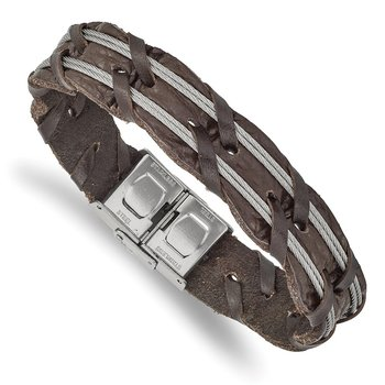 Stainless Steel Polished Cable and Brown Leather 8.5in Bracelet