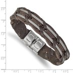 Chisel Stainless Steel Polished Cable and Brown Leather 8.5in Bracelet