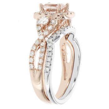 4k Rose/ Whtie Gold 1/2ct TDW Diamond and 7/8ct Morganite Bridal Set