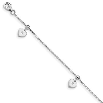 Sterling Silver Rhodium-plated CZ Heart Dangle 6.5 in w/1IN Ext Bracelet