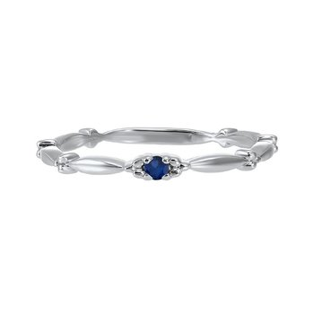 Sapphire Solitaire Antique Style Slender Stackable Band in 10k White Gold