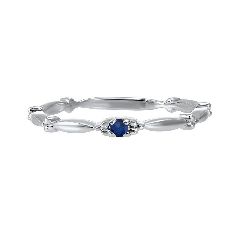 Gems One Sapphire Solitaire Antique Style Slender Stackable Band in 10k White Gold