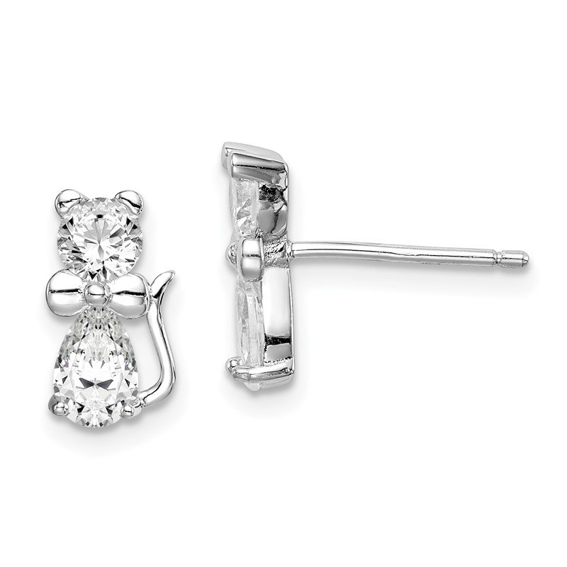 Quality Gold Sterling Silver Rhodium-plated CZ Cat Post Earrings