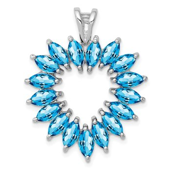 Sterling Silver Rhodium Marquise Swiss Blue Topaz Heart Pendant
