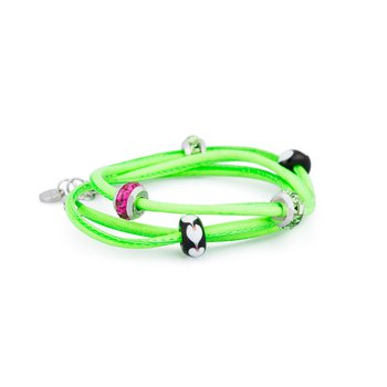 Bracelet. Fluo green leather with 316L stainless steel elements, coloured glass and coloured Swarovski® Elements crystals