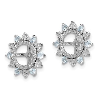 Sterling Silver Rhodium Aquamarine Earring Jacket