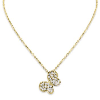 Diamond Butterfly Necklace in 14k Yellow Gold with 32 Diamonds weighing .33ct tw.