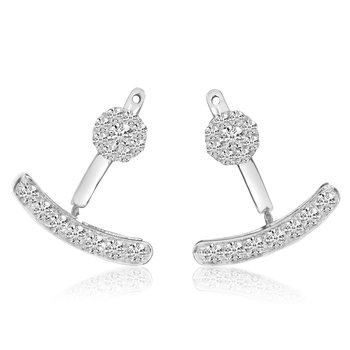 14k White Gold Double Diamond Earrings