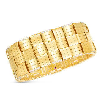 18K VENETO WOVEN THREE ROW WIDE BRACELET  W. DIAMOND ACCENT