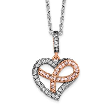 Sterling Silver Brilliant Embers Rose Gold-plated CZ Polished Heart Necklac