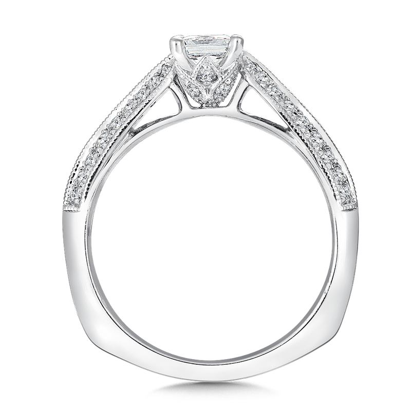 Valina Mounting with side stones .25 ct. tw., 1/2 ct. cushion cut center.