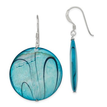 Sterling Silver Mother of Pearl Blue Disc Earrings