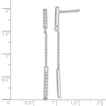Sterling Silver CZ Bar Dangle Post Earrings
