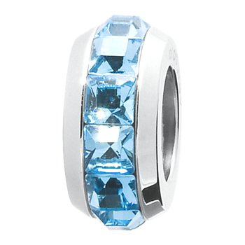 316L stainless steel and aquamarine Swarovski® Elements crystals